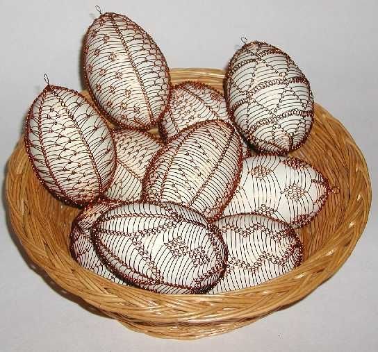 These eggs have been decorated by wrapping them in wire.  This handcraft is typical of northern Slovakia.
