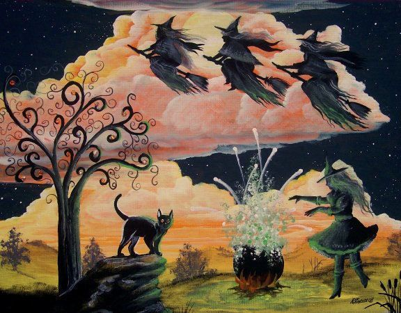 Folk Art Three WITCHES In Flight  over Witch with Cauldron HALLOWEEN PRINT