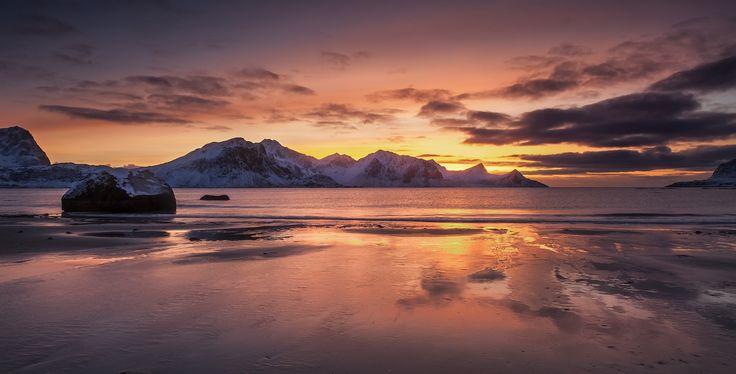 Lofoten Sunset - A stunning sunset at Haukland Beach near Leknes in the Lofoten Islands, Norway.