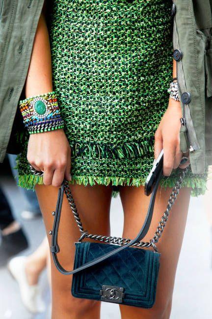 Miroslava Duma, green, lanvin, Chanel, street style
