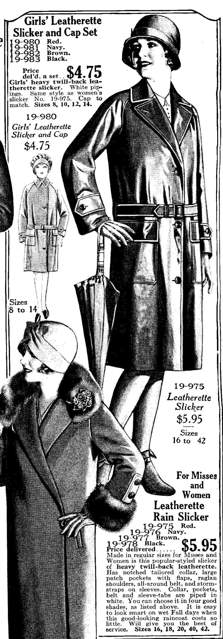 1928 leatherette rain coat