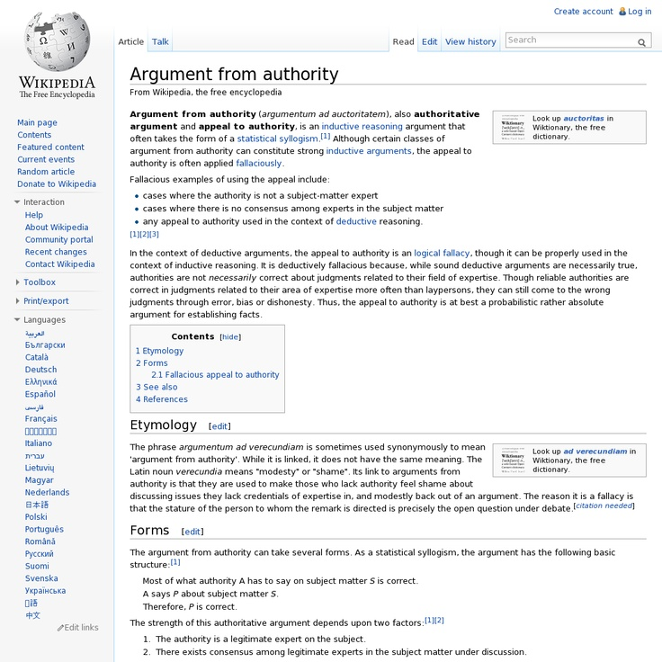 Argument from authority @ Wikipedia