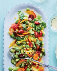 """Summer Fruit and Vegetable """"ceviche"""" Recipe - I made this last night to take to a BBQ and it was amazing. I didn't bother with the Lima beans and brought tortilla chips. #vegan"""