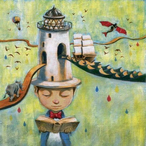 Reading, tower of imagination / La lectura, torre de la imaginación (ilustración de Rommel Joson)