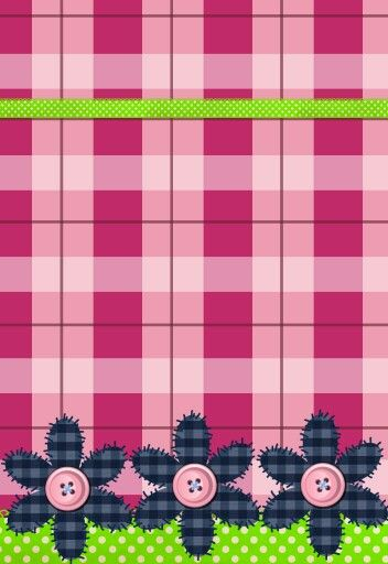 PINK PLAID AND BUTTON FLOWERS