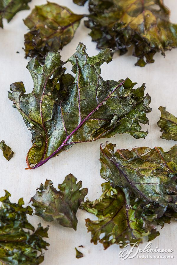 Oven baked kale chips, yum yum yum... better for you than potato chips and tastes just as good!!!!