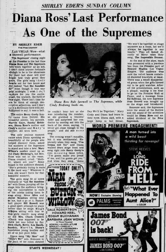 Diana Ross And The Supremes Newspaper Clipping After The Farewell Performance At The Frontier Hotel And Casino In Las Vega In 2020 Diana Ross Supremes Diana Ross Diana