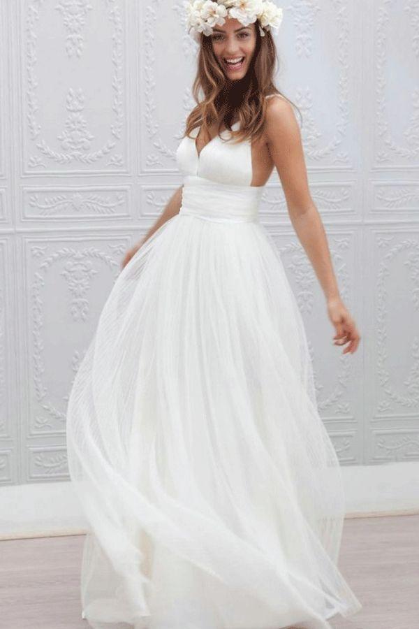 Custom strap wedding dress,Long Wedding Dresses, Simple Beach Cheap Wedding Dr…