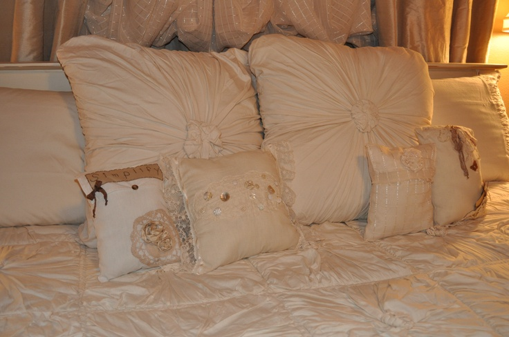 small pillows I made for the new shabby  chic bed cover.