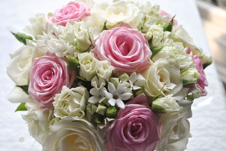 Bouquet Of Pink Roses | ... and small headed roses, pale pink Heaven roses and white bouvardia