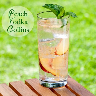 Peach Vodka Collins - First make peach syrup by boiling 1c water, 1c ...