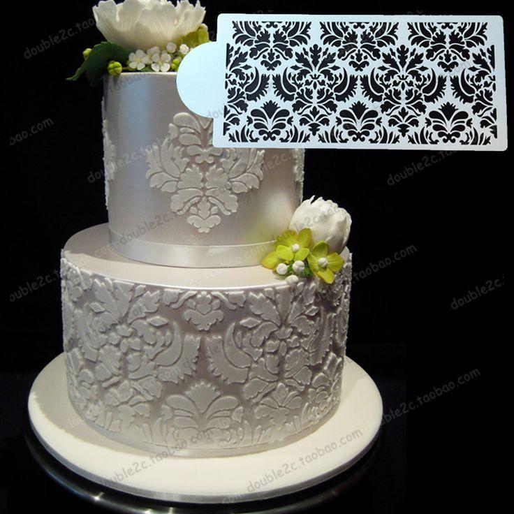"Wedding cake stencil,12.6""x6.1""(32x15.4cm),plastic stencil,fondant lace mould,decoration for wedding cake,stencil for baking on Aliexpress.com   Alibaba Group"