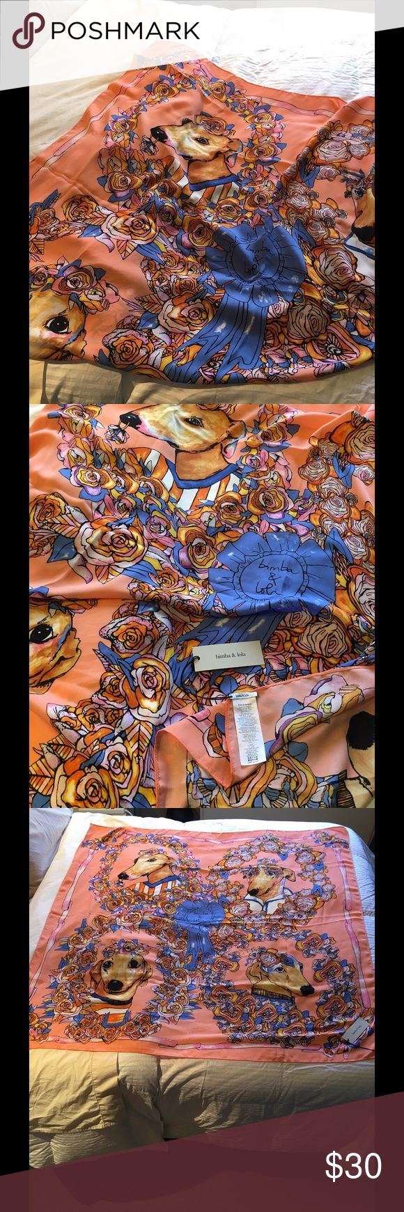 "Bimba y Lola gorgeous scarf shawl 47"" square colorfully beautiful imported scarf/shawl; 100% polyester; machine washable. Bimba y Lola Accessories Scarves & Wraps"