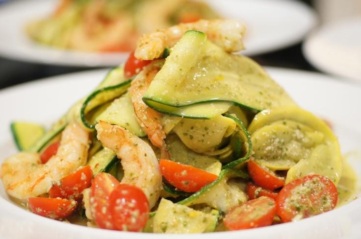 Shrimp and Squash Ribbon Salad with Citrus Basil Pesto and Grape Tomatoes