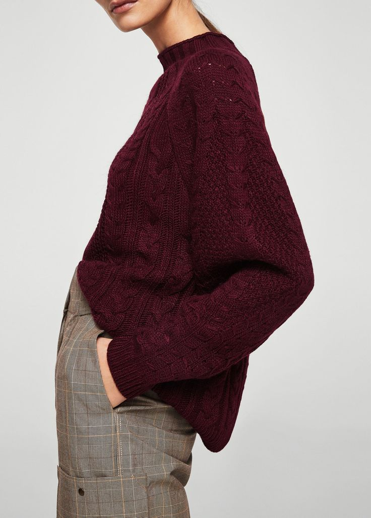 Camisola de malha de oitos (borgonha):MANGO (35,99€)