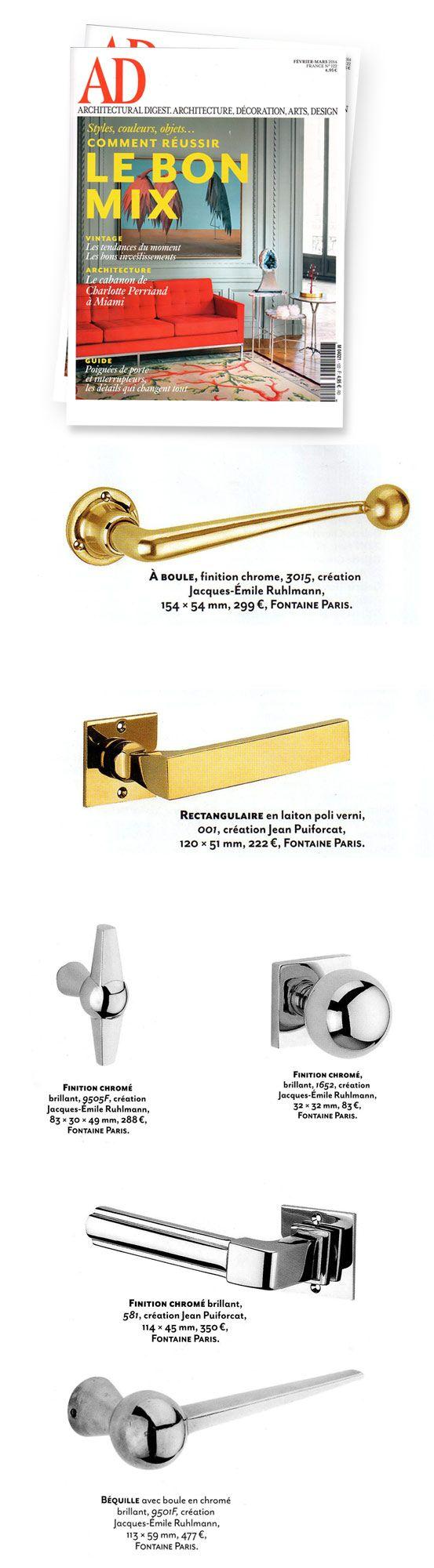 AD architecture : garnitures de porte Art Déco de la Maison Fontaine. #Handles #Puiforcat #Ruhlmann #artdeco