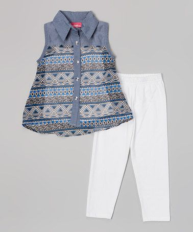 Look what I found on #zulily! Blue & White Sleeveless Button-Up & Leggings - Girls #zulilyfinds