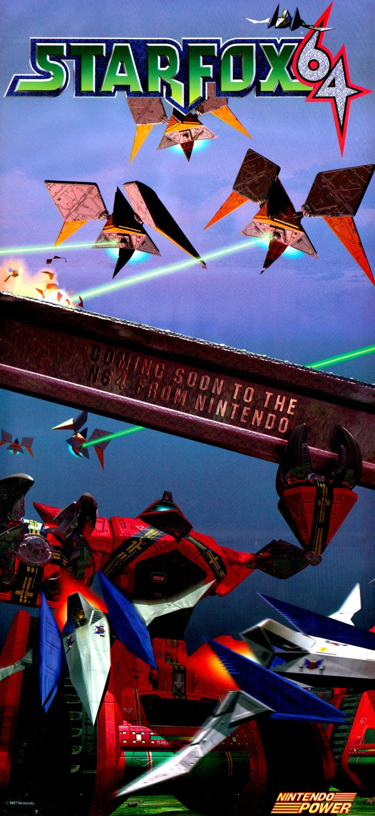 SCAN TIME: Nintendo Power's sensuous Star Fox 64 centerfold.  Star Fox 64 (Nintendo 64)—http://www.megalextoria.com/wordpress/index.php/category/retro-games/nintendo-64/