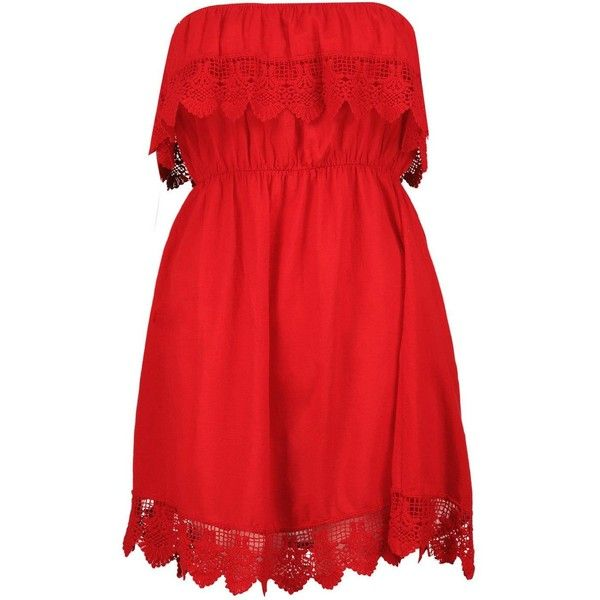 Boohoo Lilly Crochet Trim Sundress ($36) ❤ liked on Polyvore featuring dresses, vestidos, casual dress, red maxi dress, red mini dress, maxi dresses, cotton sundresses and red party dresses