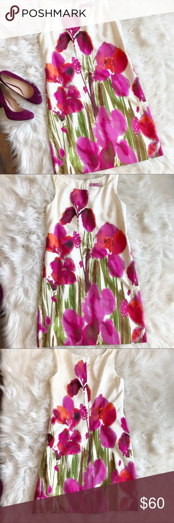 Eliza J Sleeveless Watercolor Floral Dress Gorgeous floral Watercolor dress by Eliza J. In excellent used condition. Vibrant and bright Watercolor Floral pattern. Size 12. Polyester blend. Concealed zipper. Small run in dress, not too noticeable when worn though. Measurements to come. Eliza J Dresses