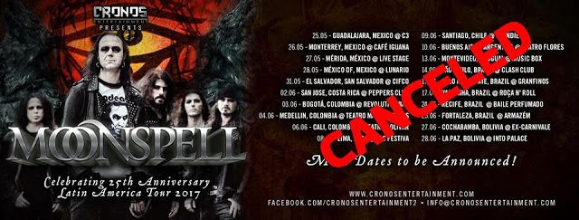 Heavy Metal Music & More  : Moonspell odwołuje koncerty w Ameryce Łacińskiej