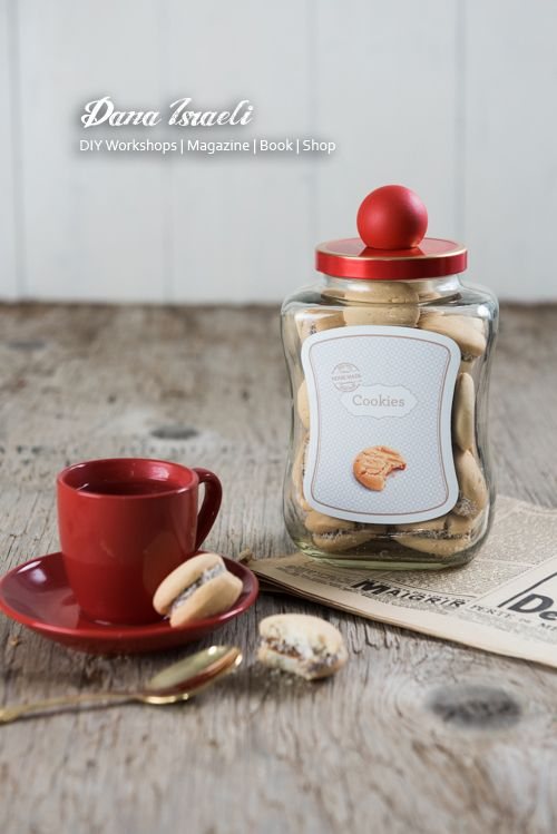 Transform an empty coffee jar into a cookies jar. Designed and Photographed for NESCAFE brand by Dana Israeli