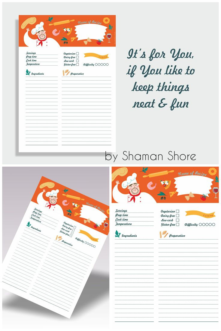 blank recipe template  orange recipe page printable a4 pdf