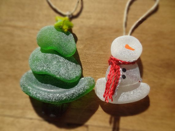 Beach Glass Ornaments-2 Pack on Etsy, $34.00