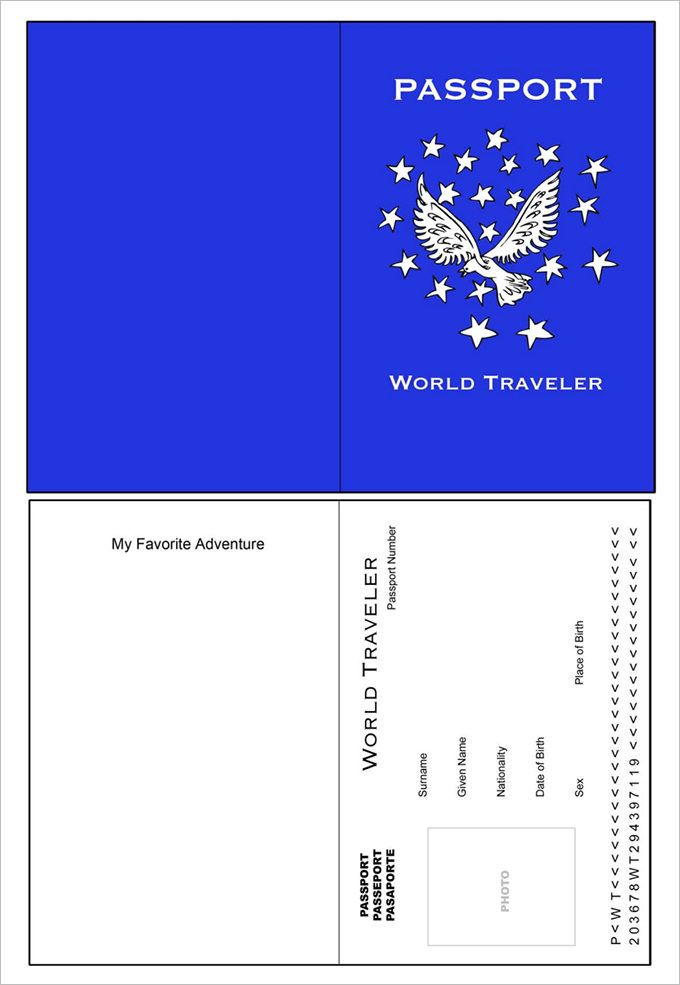 Passport template 19 free word pdf psd illustrator for Passport photo print template