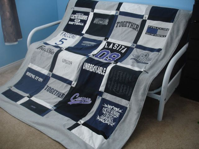 How to make your own T-Shirt Quilt- I need to do this with all my old college shirts!