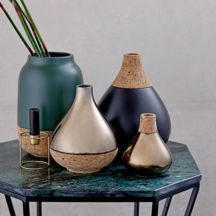A mix of metallics, dark green and dark blue from the Bloomingville AW15 collection! // #Bloomingville #Interior #Nordic #Design #Home #Decor #AW15 #Collection #Green #Blue #Metallic #Vases #HappyChanges //