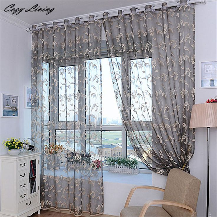 Curtain 200x100cm Fashion Flower Curtain Yarn For Bedroom Rustic Sheer Curtain Tulle Size Printed Curtain Wholesale D6 #Affiliate
