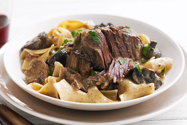 Short ribs become succulent in the slow cooker for a simple stroganoff full of complex flavor. Smoked paprika adds depth to a velvety sour cream sauce.