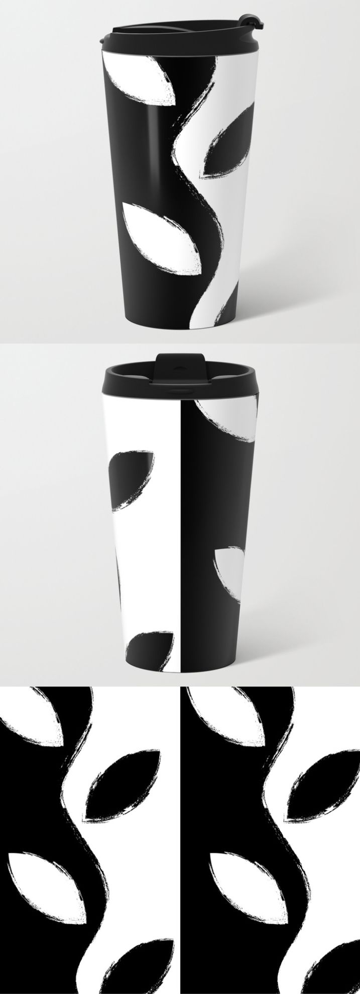 $24.99 In addition to a 360-degree wraparound design, our metal travel mugs are crafted with lightweight stainless steel, double-walled to keep drinks hot (or cold). #mug #travel #coffee #tea #home #decor #floral #paint #brush #strokes #pattern #elegant #creative #modern #black #white #leaves #flower #abstract #nature #buyart #society6 #gift