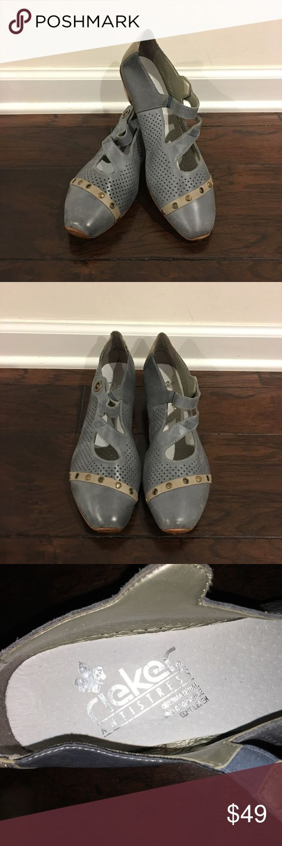 NWOB- Rieker Antistress Women's Leather Shoes - 8 NWOB- Rieker Antistress Women's Leather Shoes - Size 8 New Without Box Style: Comfort Color: Bleu-Gray Rieker Shoes #RiekerShoes