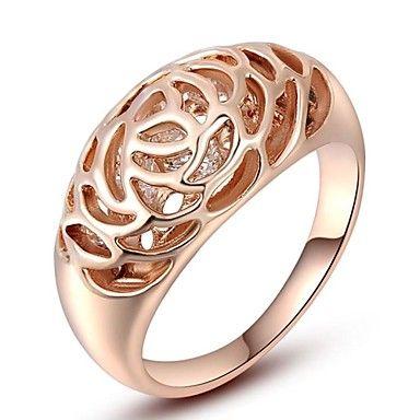 Karácsonyi ajándék klasszikus világos osztrák kristály minta árbevétel aranyozott üreges gyűrű ékszer fél ki – USD $ 8.99