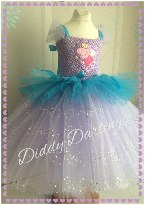 Peppa Pig Tutu Dress. Beautiful & lovingly handmade.  All characters and colours available Price varies on size, starting from £25.  Please message us for more info.  Find us on Facebook www.facebook.com/DiddyDarlings1 or our website www.diddydarlings.co.uk