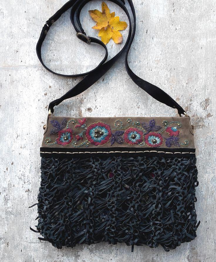 Hand embroidered purse, black leather crossbody bag, unique boho bag, italian leather bag, leather messenger bag, floral purse