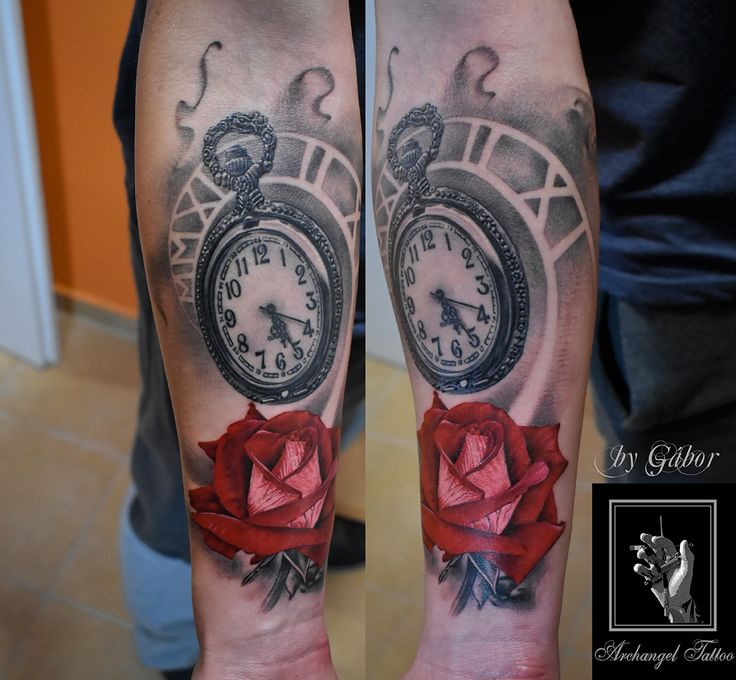 Realistic pocket watch + rose tattoo by Gabor Smola. You can find more of my works on social network: www.instagram.com/gabor_smola, www.facebook.com/GaborSmolaArchangelTattoo
