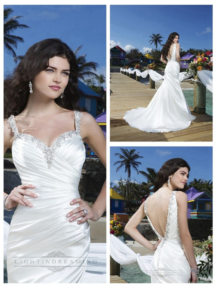 Beaded Straps Charmeuse Asymmetric Pleated Mermaid Wedding Gown with   Deep V-back http://www.ckdress.com/beaded-straps-charmeuse-asymmetric-pleated-  mermaid-wedding-gown-with-deep-vback-p-339.html  #wedding #dresses #dress #lightindream #lightindreaming #wed #clothing   #gown #weddingdresses #dressesonline #dressonline #bride
