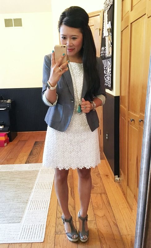 banana republic chambray blazer, lilly pulitzer floral lace dress, steven by steve madden espadrilles