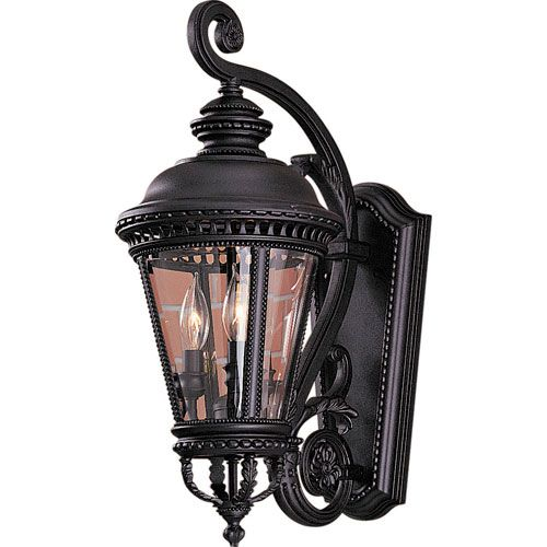 """Dallas Landscape Lighting provided & installed 2 of these ornate 'Victorian' style wall mounted fixtures for our customer in Highland Park, TX (Dallas) in fall of 2013.   Finish: Black Dimensions: 9 1/4""""W x 22.5""""H x 14""""Ext Voltage: 110 to 120 Volt Bulb/Watt: 3 - 60 watt Candelabra bulbs Weight: 13.0 Lbs Certification:UL Usage:Exterior /Wet  Fixture: Feiss Castle Black Outdoor Lantern    http://www.DallasLandscapeLighting.net"""