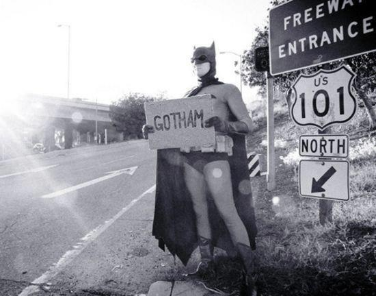 Los Angeles > Gotham City: Nerd Stuff, Poor Batman, Batman Hitched, Bats, Gotham Cities, Batman Batman, Funny, Batmobile, Batman Hitchhikers