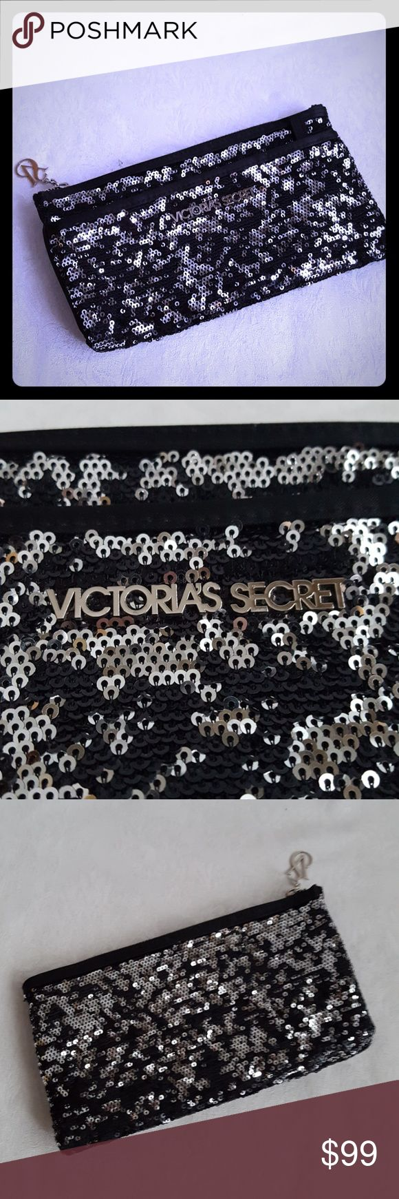 """Victoria's Secret Sequin Black & Silver Clutch Victoria's Secret black & silver sequin make up clutch bag. Bag measures approx  9"""" wide x 5"""" tall. Zip front pocket. Zip top closure. Black satin lining. Very versatile. Could also be used as a clutch purse.   Excellent used condition. Smoke free and pet free home.  Check out my other listings - 100's of shoes, boots and bags. Bundle 2 or more and save money! Victoria's Secret Bags"""