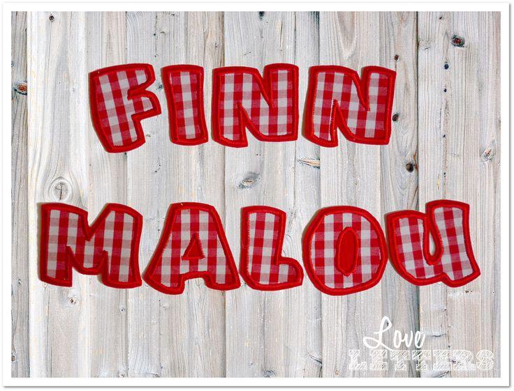 Bügelbilder - Bügelbuchstaben Aufnäher Vichy Karo rot Buchstaben - ein Designerstück von Love_Letters bei DaWanda
