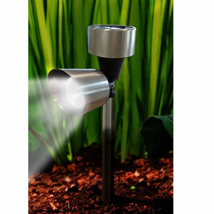 SPOTLIGHT SOLAR LIGHTS IN STAINLESS STEEL - Garden & Outdoor | Poundstretcher