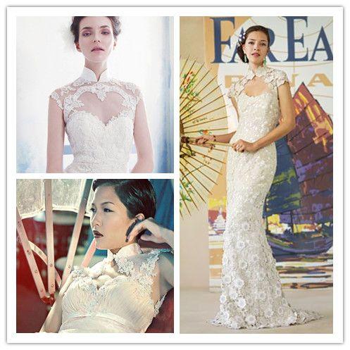 Lace - white - modern - qi pao - mandarin collar - cheongsam