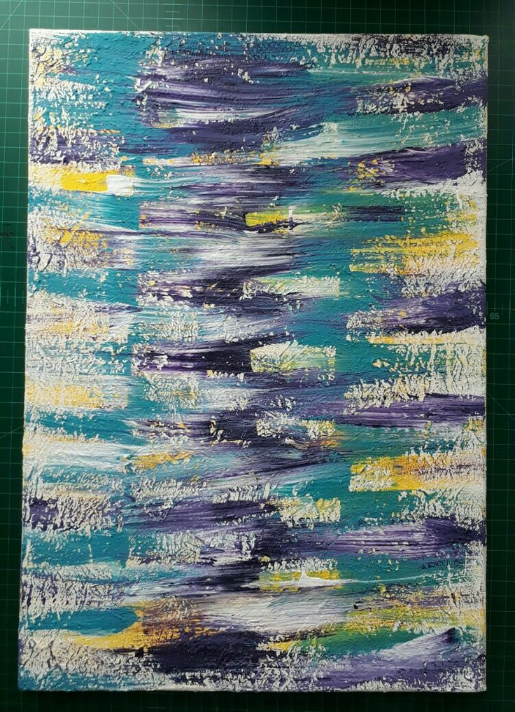 Stretch canvas - covered with texture paste. Poured lines of paint over canvas and brushed alternative strokes in opposite directions.