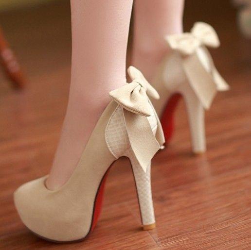 ENMAYER 2014 New large size 34-42 High Heels Princess Bow Shoes Sexy Wedding Footwear Fashion Women Round Toe Platform Pumps $61.53 - 65.53