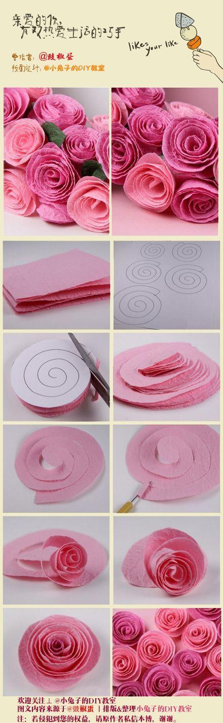 rosas de crespón a partir de un espiral
